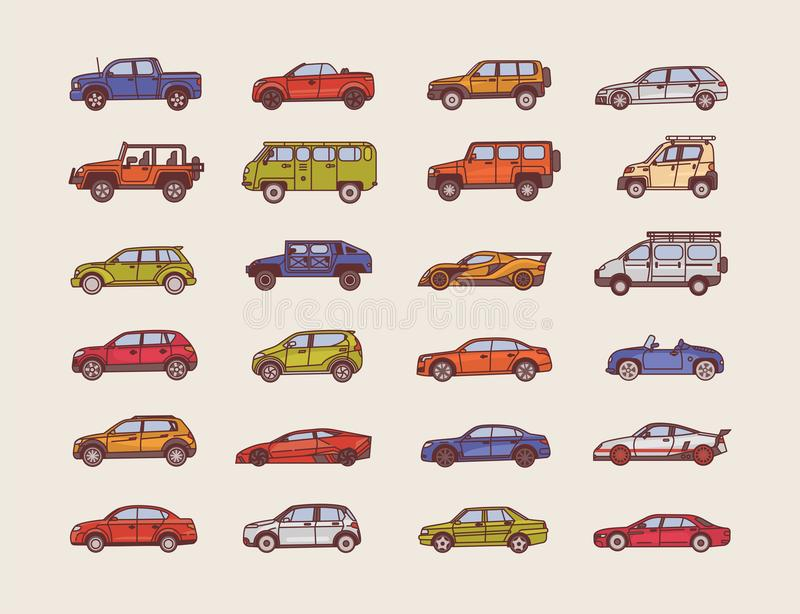 Big Collection Of Cars Of Various Body Configuration Styles ...