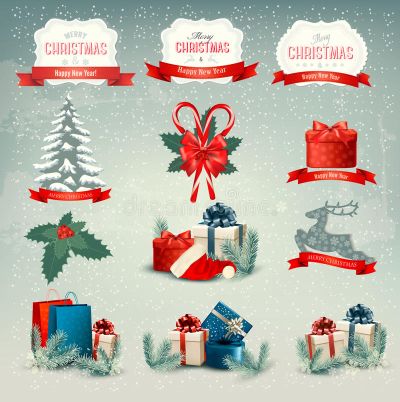Big collection of Christmas icons and design eleme stock illustration