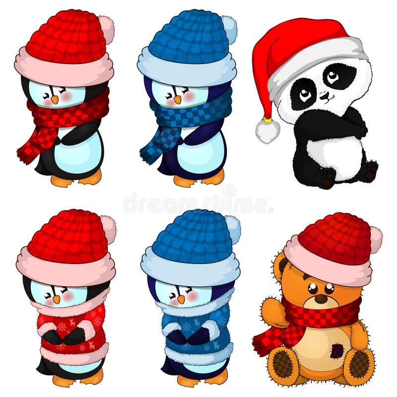 Big collection Christmas penguins, teddy bear and panda poses. stock illustration