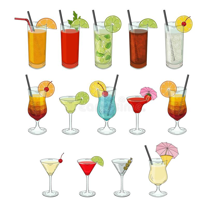 Big collection of cocktails. Daiquiri, Mojito,. Pina colada, Margarita, beach sex, Martini, bloody Mary. vector illustration. isolated objects stock illustration
