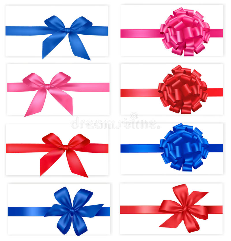 Big collection of color gift bows. stock illustration
