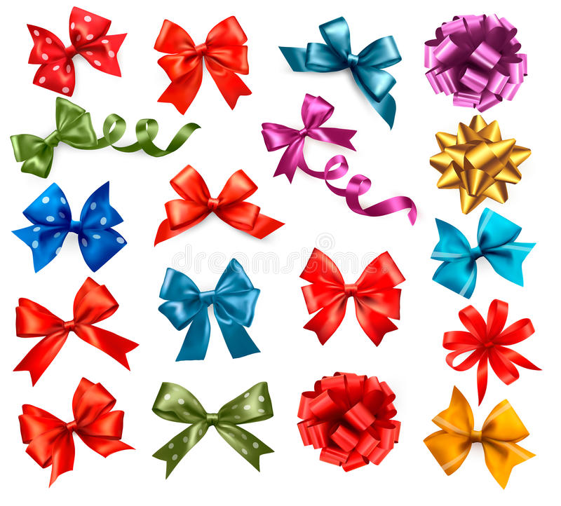 Big collection of color gift bows with ribbons. royalty free illustration