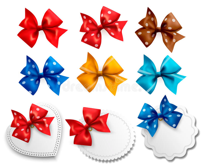 Big collection of colorful gift bows and labels stock illustration