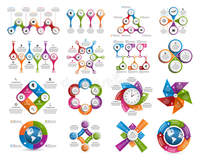 Big collection of colorful infographics. Design elements. royalty free illustration