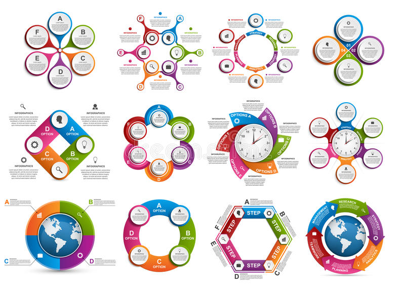Big collection of colorful infographics. Design elements. vector illustration