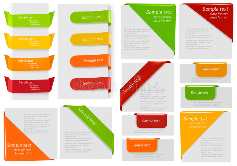Big collection of colorful origami paper banners.