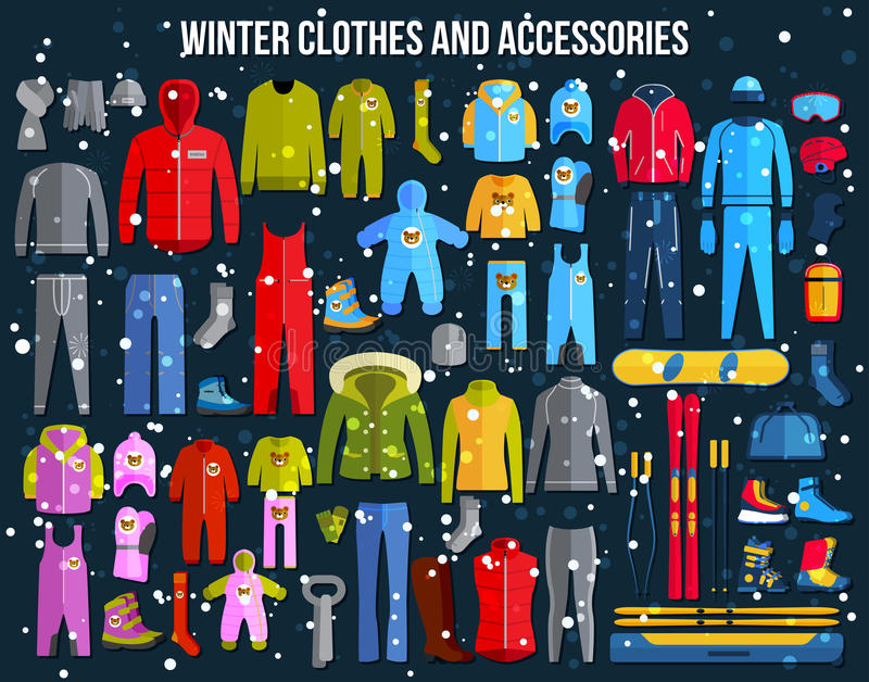Big collection of cozy winter clothes and winter stock illustration