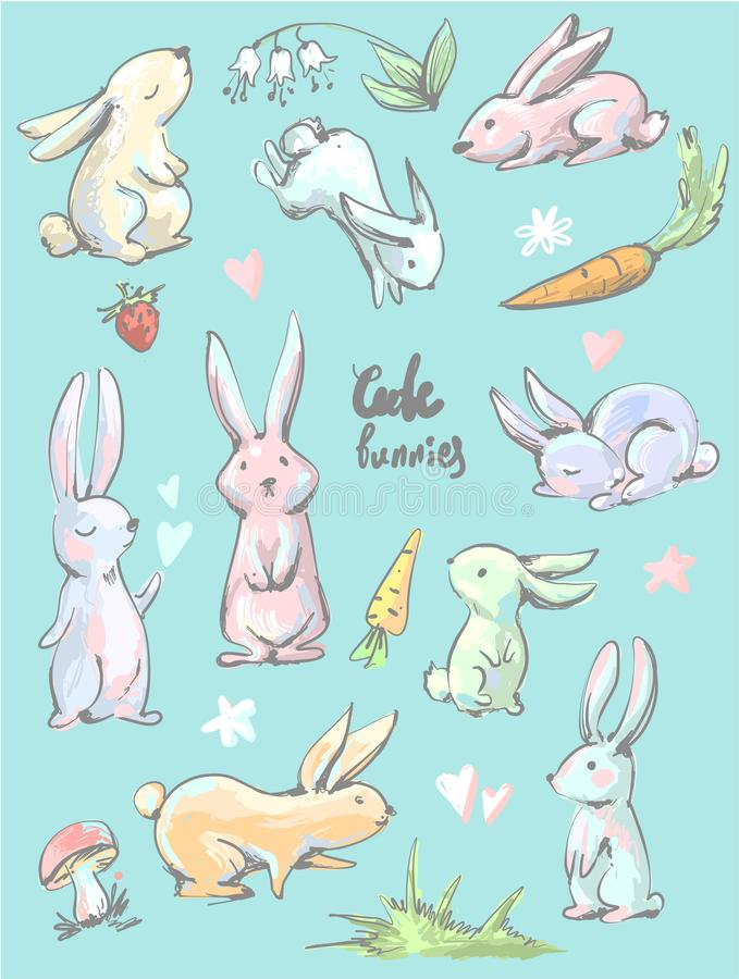 Big collection of cute cartoon style hares in different positions , bunnies with carrots, hearts, mushroom, grass royalty free illustration