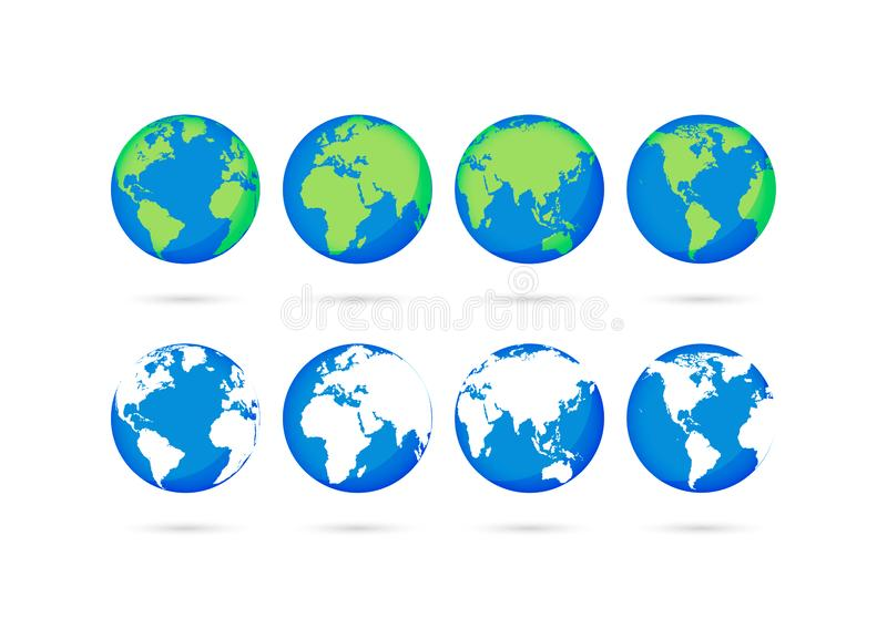 Big collection Earth globes. Globe and Earth icons. World map. Planet. Vector illustration royalty free illustration