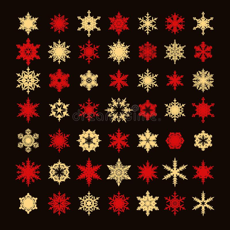 Big collection of elegant gold and red snowflakes silhouette isolated on black background.Set of elements for christmas royalty free illustration