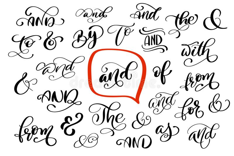 Big collection of hand lettered ampersands and catchwords isolated. On white background. Great vector design set for wedding invitations, save the date cards vector illustration