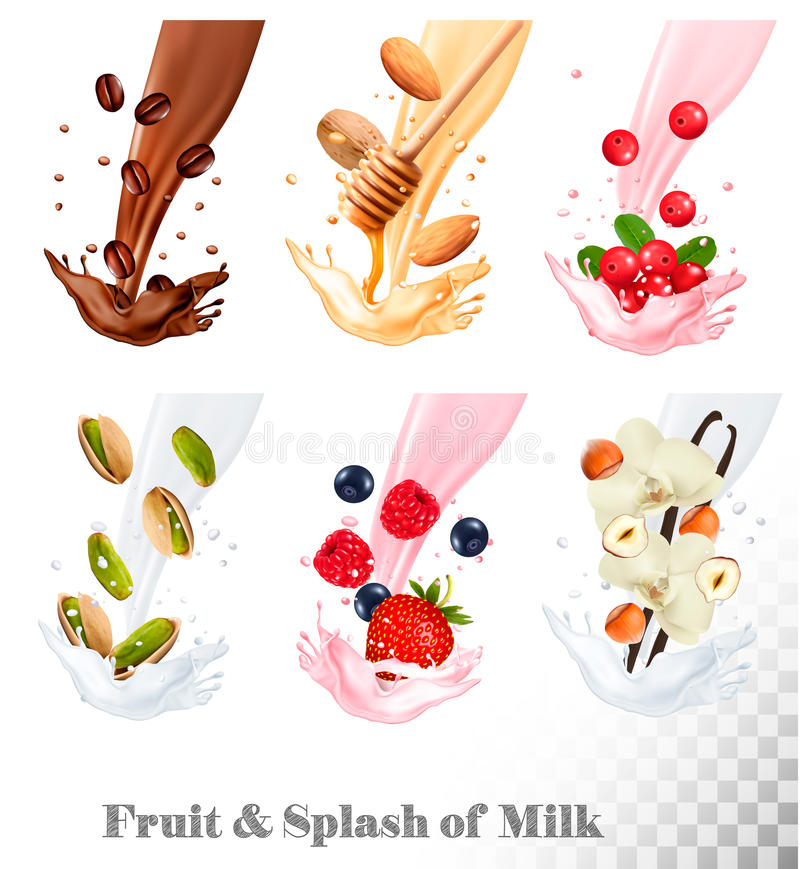 Big collection icons of fruit in a milk splash. vector illustration