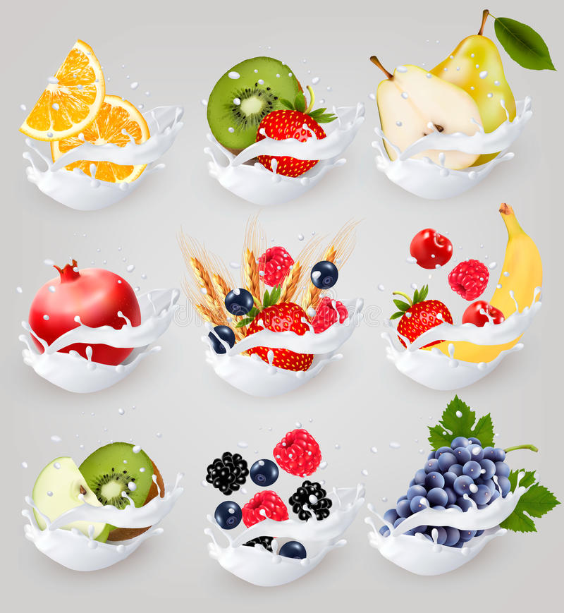 Big collection icons of fruit in a milk splash. Raspberry, strawberry, apple, blackberry, blueberry royalty free illustration