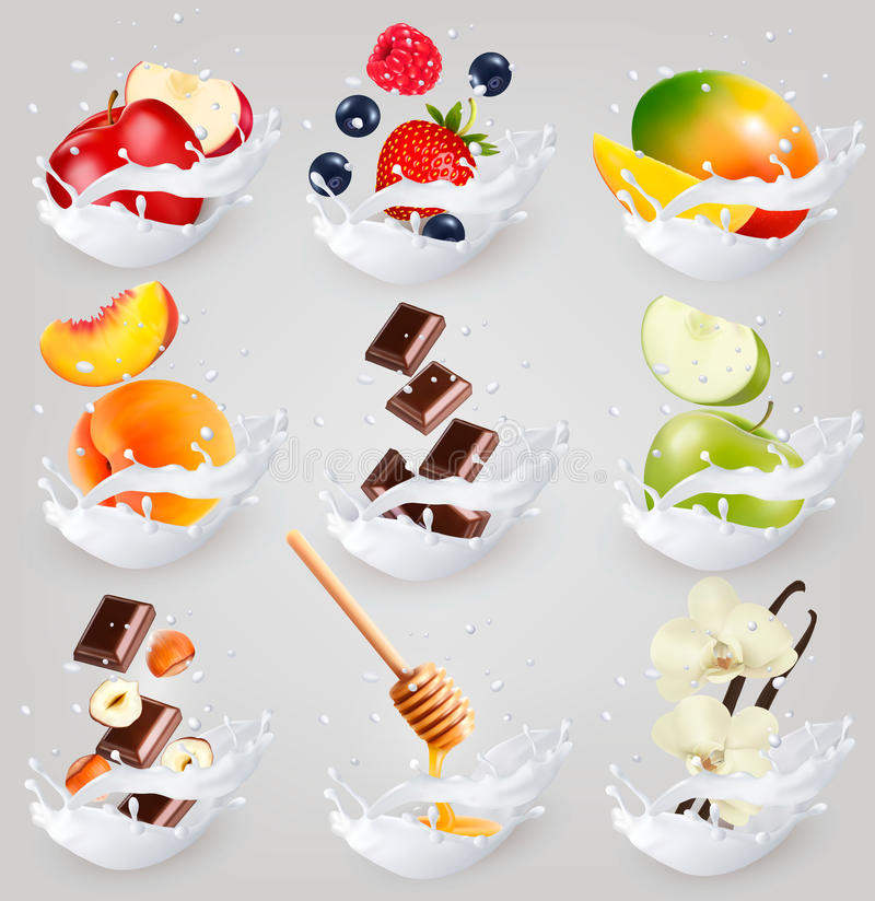 Big collection icons of fruit in a milk splash. stock illustration