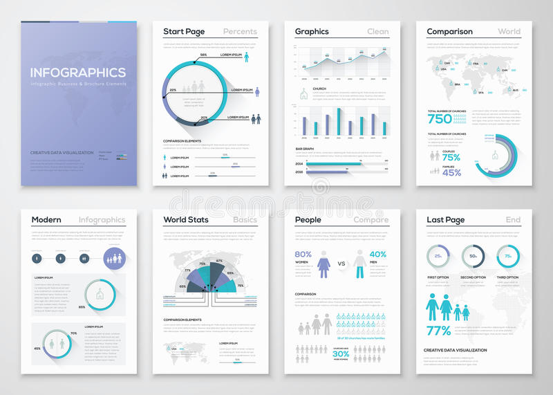 Big collection of infographic business brochures and graphics vector illustration