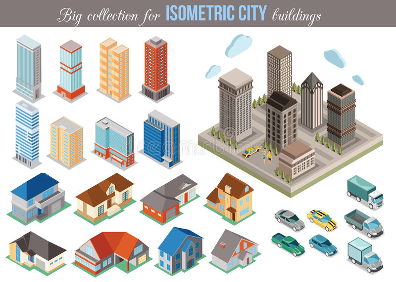 Big collection for isometric city buildings. Set vector illustration