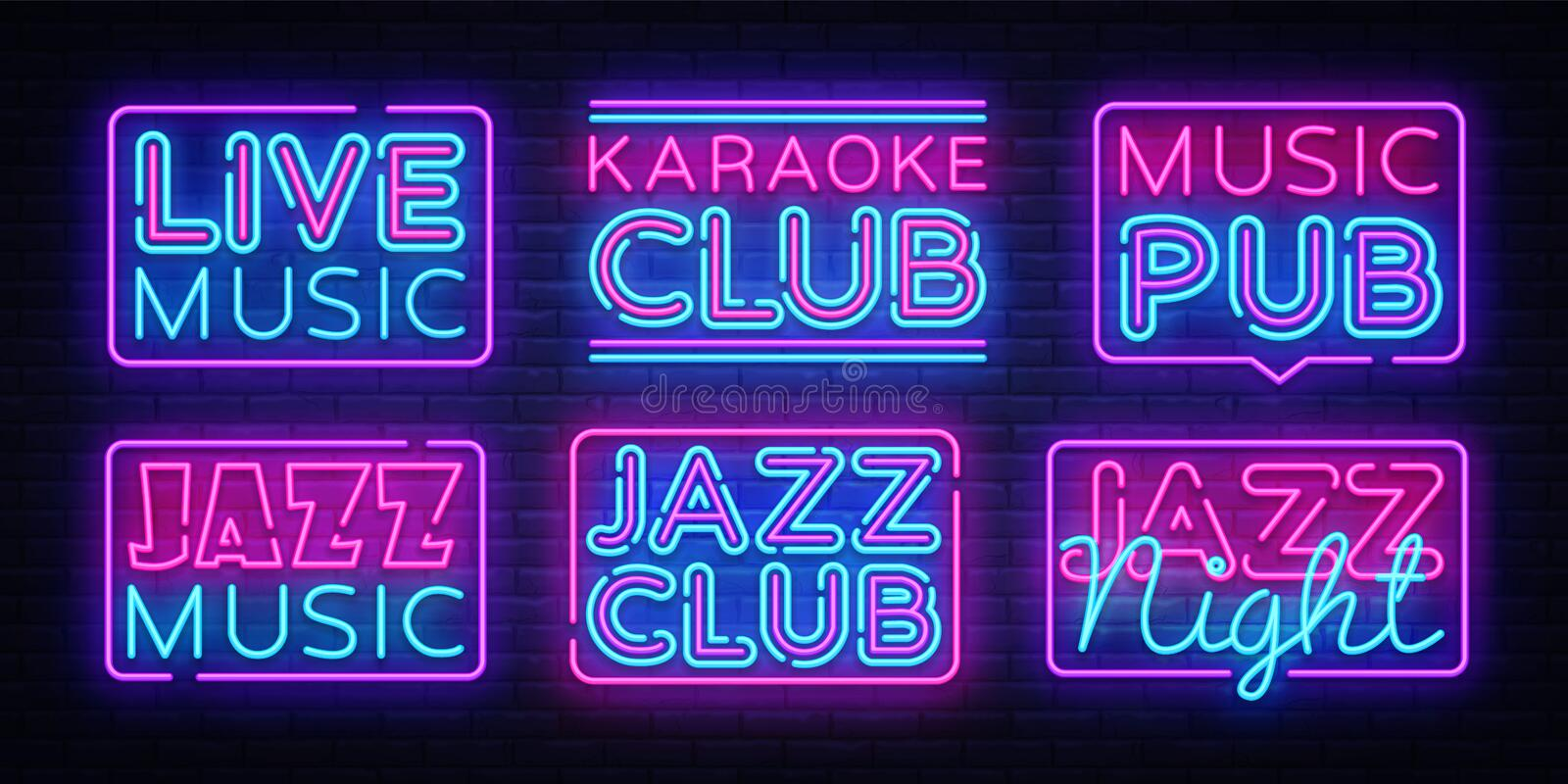 Big collection Live Music neon signs vector. Jazz Music design template neon sign, light banner, neon signboard, nightly. Bright advertising, light inscription stock illustration
