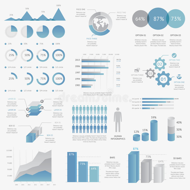 Big collection of modern business infographic vect royalty free illustration