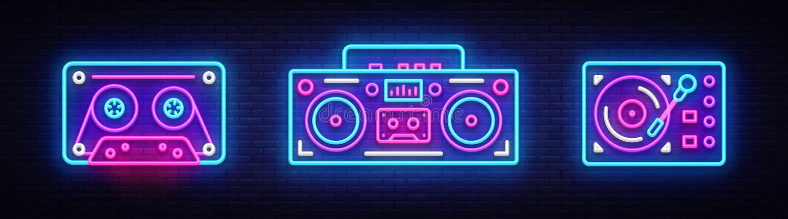 Big collection neon sing. Retro Music neon symbols design elements. Back to 80-90s light banner, modern trend design. Style. Bright signboard, night advertising royalty free illustration
