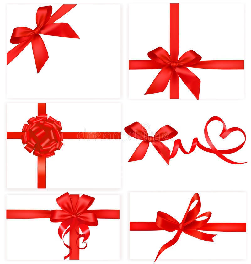 Big collection of red gift bows. stock illustration