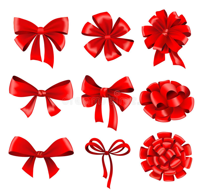 Big collection of red gift bows with ribbons vector illustration