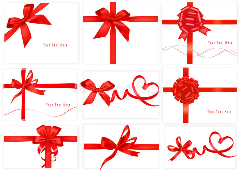 Big collection of red gift bows. Vector. vector illustration