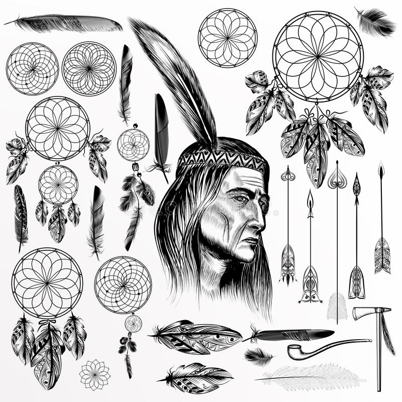 Big collection or set of vector hand drawn tribal elements stock illustration