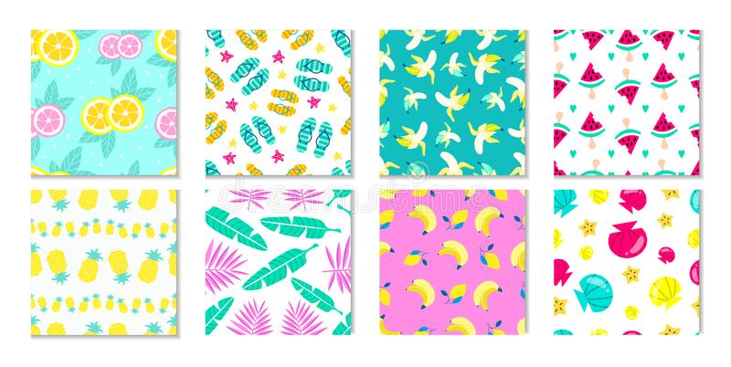 Big collection of summer patterns. Tropical backgrounds with leaves and flowers. Summer prints and patterns with fruits, seashell. And tropical elements in flat stock illustration