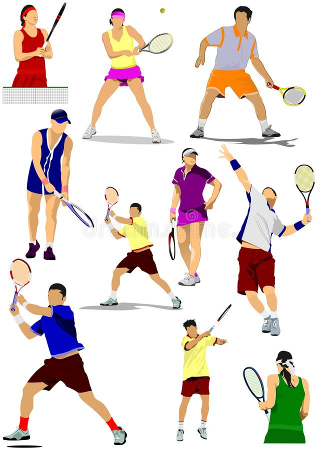 Big collection of tennis player silhouettes. stock illustration