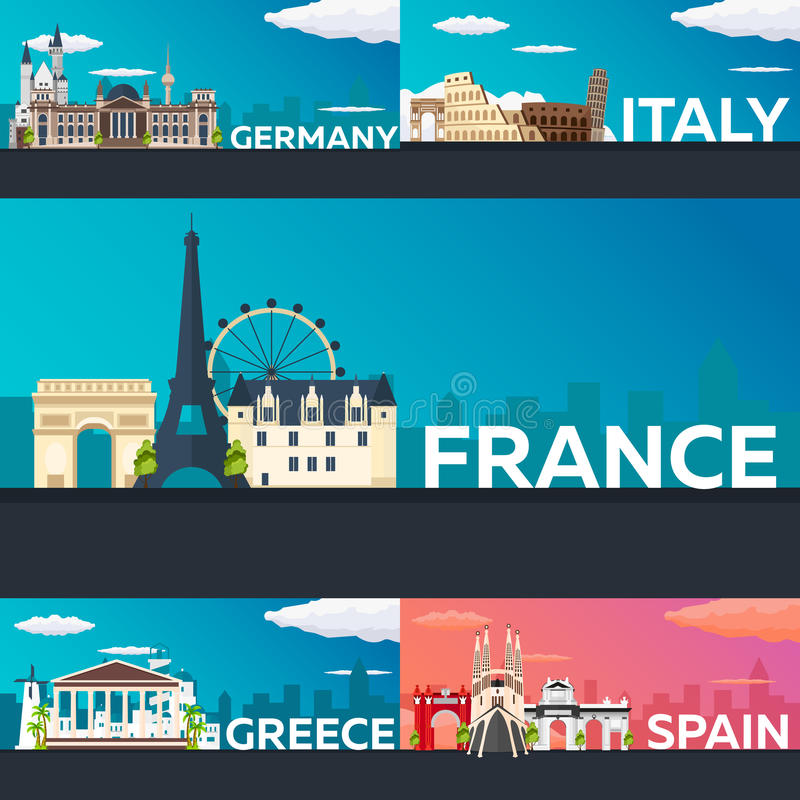 Big Collection of Travel banners to the Europe. Schengen. Vecor Flat illustration. vector illustration