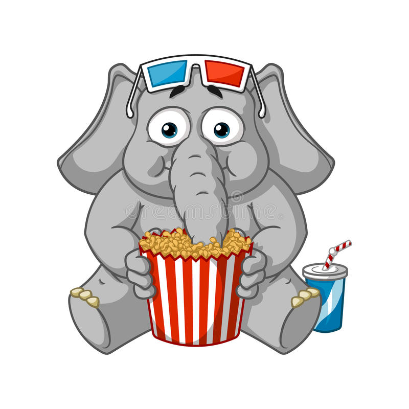 Big collection vector cartoon characters of elephants on an isolated background. Watching movie in 3D glasses eating popcorn stock illustration
