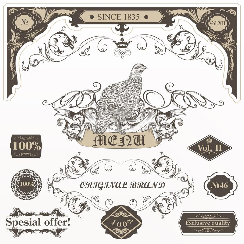 Big collection of vector decorative elements flourishes, swirls, frames, bird in vintage style stock illustration