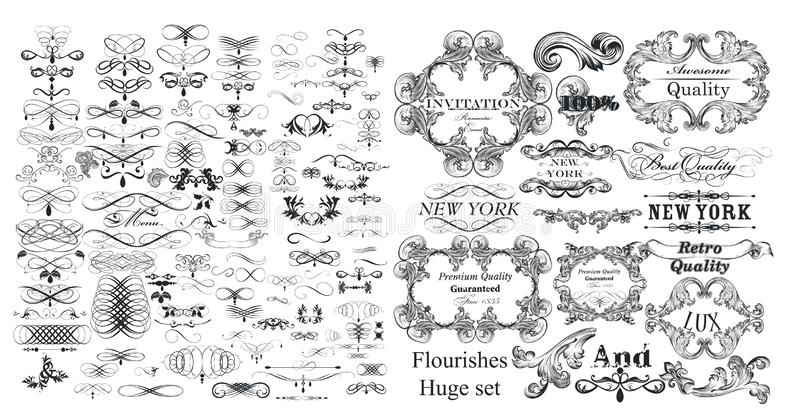Big collection of vector flourishes  and calligraphic elements in vintage style vector illustration