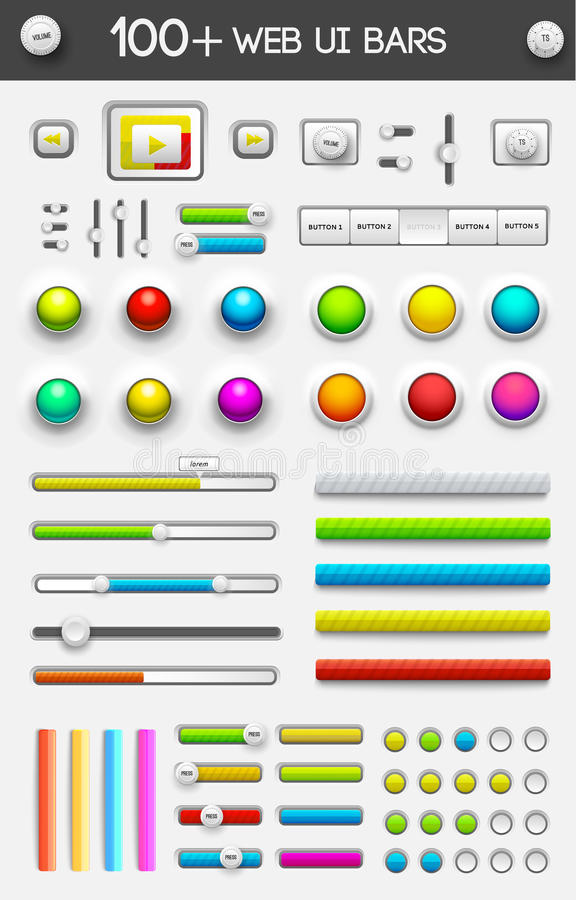 Big collection of web ui elements. vector royalty free illustration