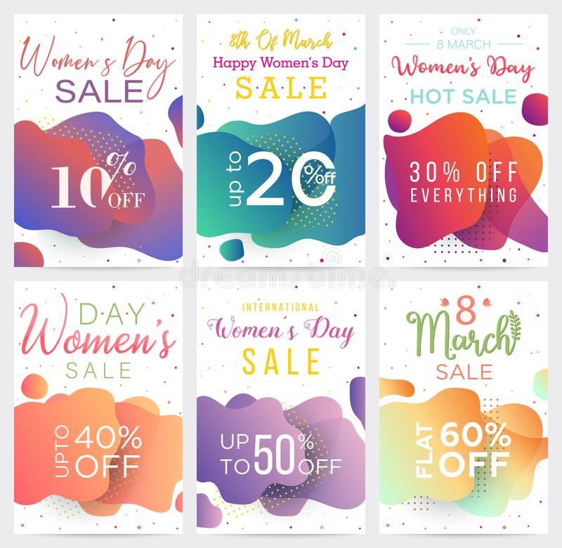 Big Collection of Womens Day sale banner templates, colorful abstract shapes backgrounds. Can be used in business. Can be used as flyers stock illustration