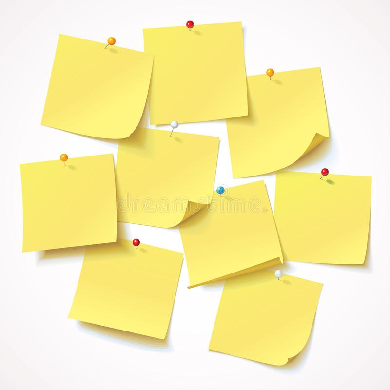 Big collection yellow sticker pinned pushbutton with curled corner, ready for your message. Vector illustration. Isolated on white background. Front view. Top vector illustration