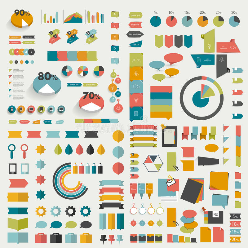 Big Collections Of Info Graphics Flat Design Diagrams Stock Vector