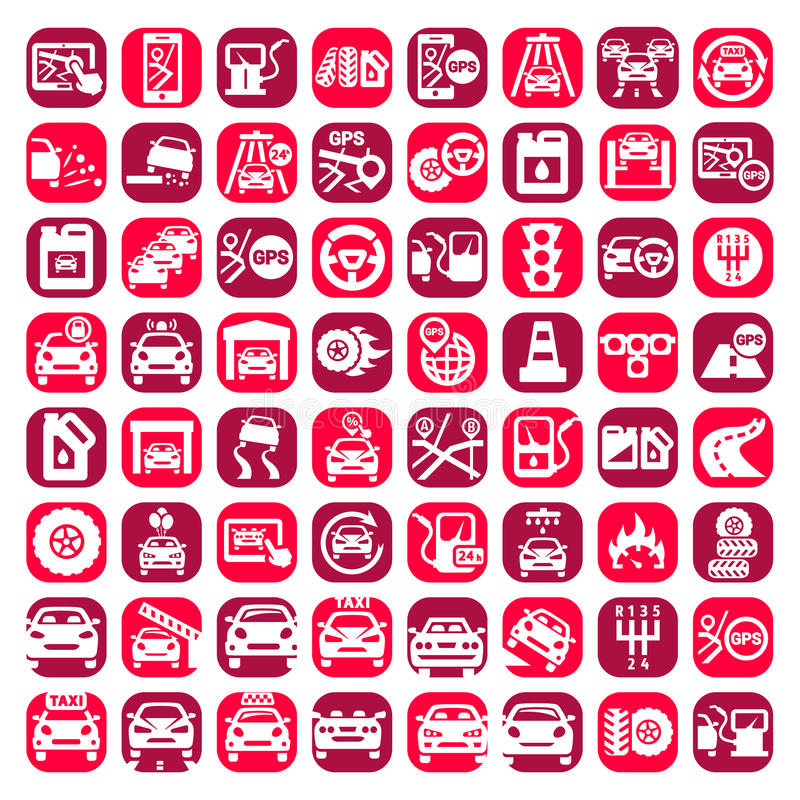 Download Big color auto icons set stock illustration. Image of gear - 32026781