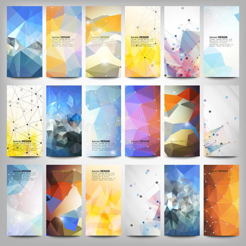 Big colored abstract banners set. Conceptual vector illustration