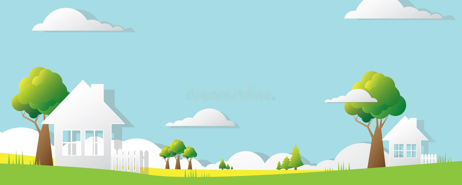 Big colorful banner in paper style stock photography