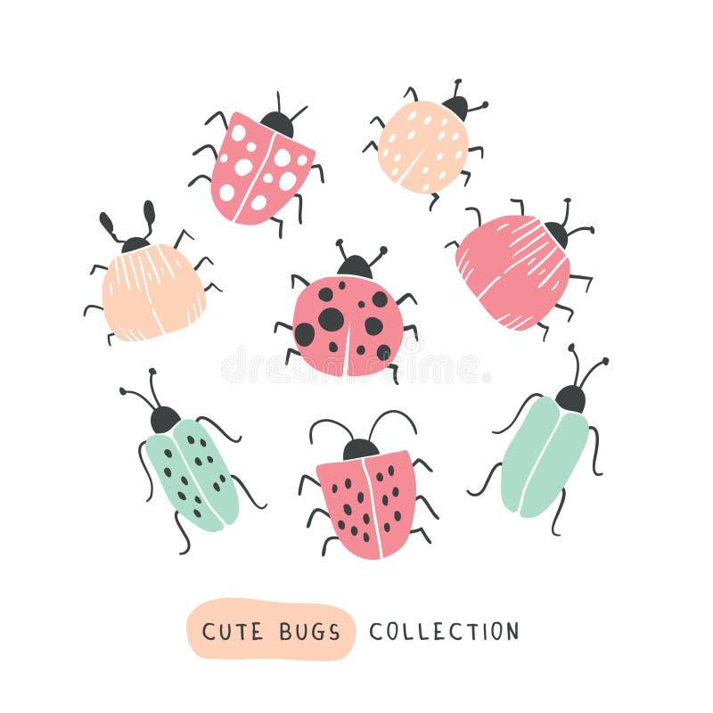 Big colorful hand drawn doodle set - butterflies stock illustration