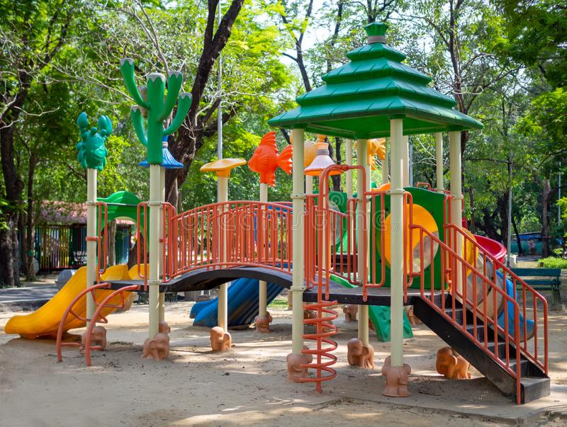 Big colorful playground toy set for children in the public park royalty free stock photo