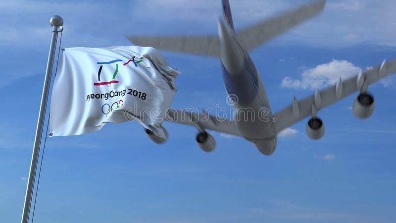 Big commercial airplane traveling to South Korea over waving flag with 2018 Winter Olympics 2018 logo. Editorial 3D stock photo