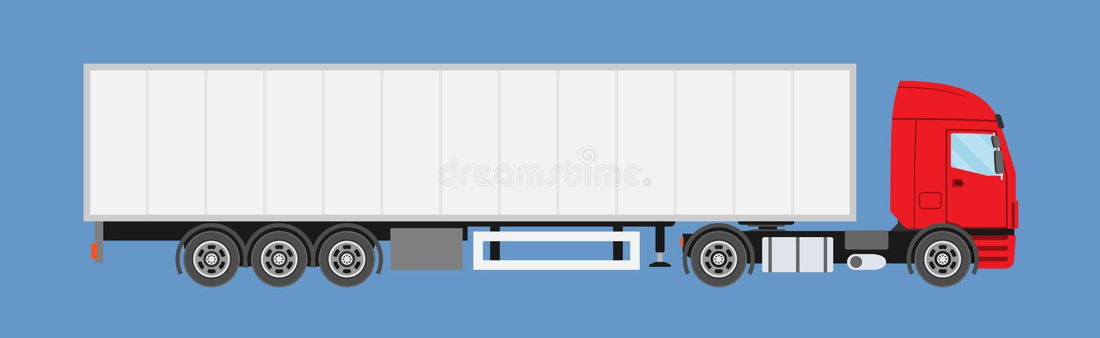 Big commercial semi truck with trailer. Trailer truck in flat style isolated. royalty free illustration