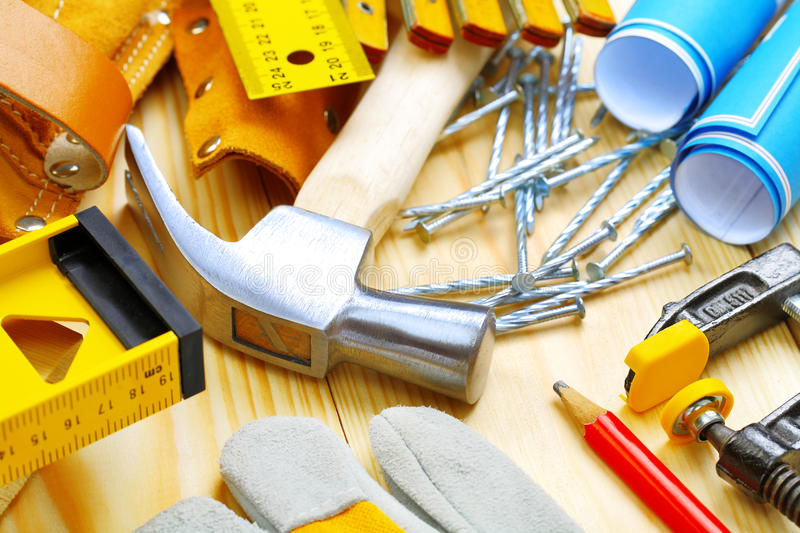 Big composition of construction tools stock image