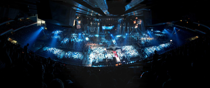 Big concert. In blue tones stock photos