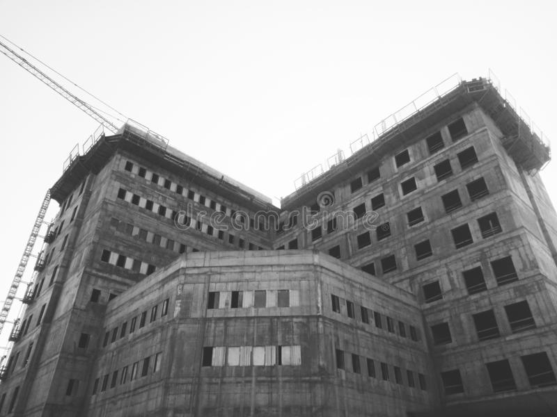 Big construction in monochrome royalty free stock photography