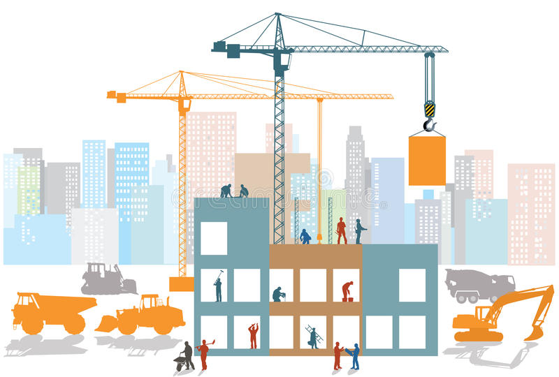 Big construction site. Illustration of big construction site showing cranes, diggers, lorries and concrete delivery vehicle with workers on four floors of the vector illustration