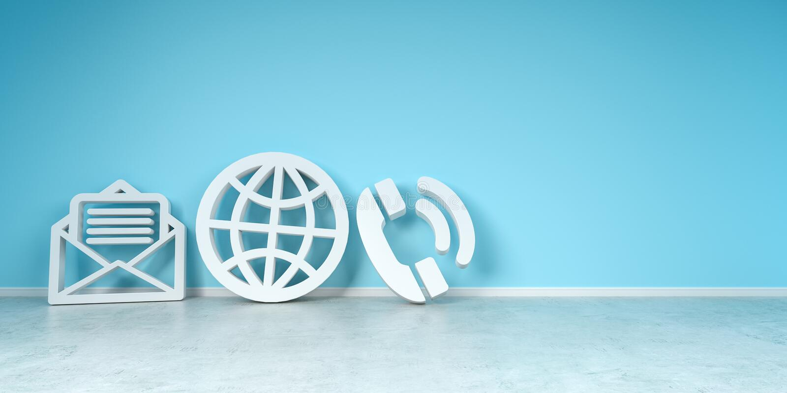 Big contact icons in modern interior 3D rendering stock illustration