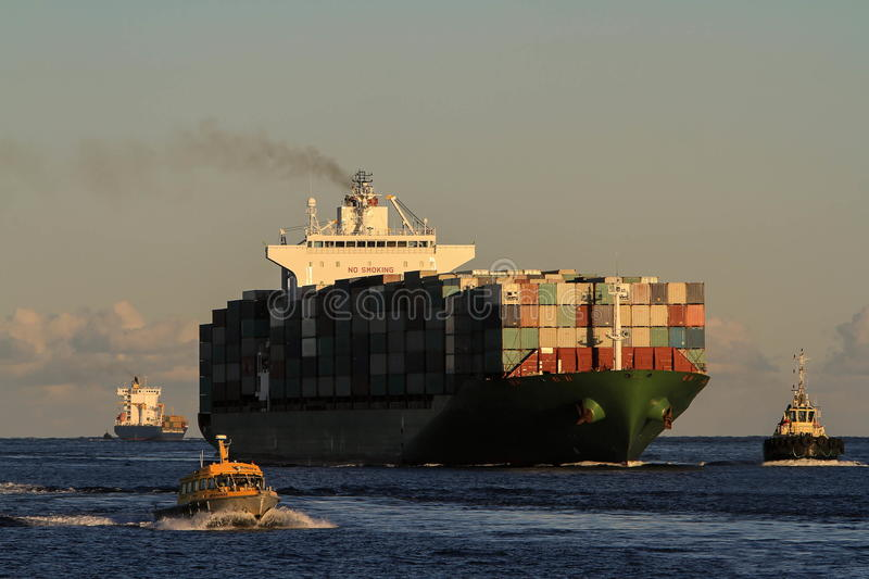 Big Container cargo ship at sea stock photo
